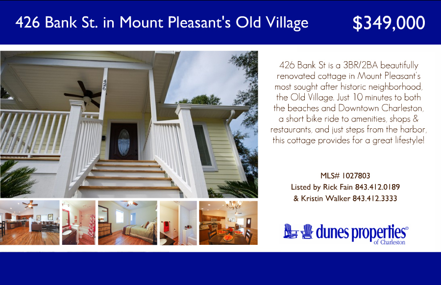 426 Bank St and 143 Hester St – Two Renovated Bungalows in Mount Pleasant and Charleston SC